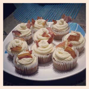 Our finished beer-batter maple syrup bacon spring break cupcakes